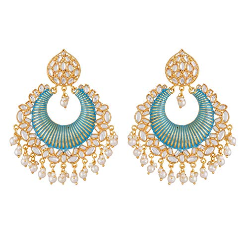 Jwellmart Handcrafted Traditional Wedding Faux Kundan Studded Enamel Meenakari Jhumka Jhumki Earrings Indian Ethnic Fashion Jewelry for Women Girls blue