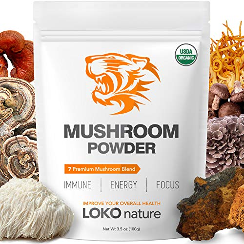 Tiger 7 Mushroom Extract Powder – Organic Superfood Mushroom Powder, Antioxidants, Immune System Booster, Brain Health, Powerful Natural Ingredients, Vegan, Dairy Free, Non-GMO, 3.5oz (100g)