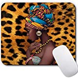 Rectangular Mouse Pad Mat Gaming Mouse Pads for Laptop Computer Non-Slip Rubber Base Mousepad Cute Customized Mouse Pad Small Mouse Mat for Office / Desk / Home - Leopard Print African Girl
