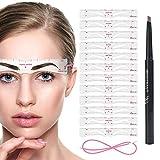 Lápiz de cejas y plantilla para cejas, 12 gel de sílice para cejas, impermeable, reutilizable, 3 minutos, herramientas de maquillaje para cejas (Plantilla de cejas + marrón claro)