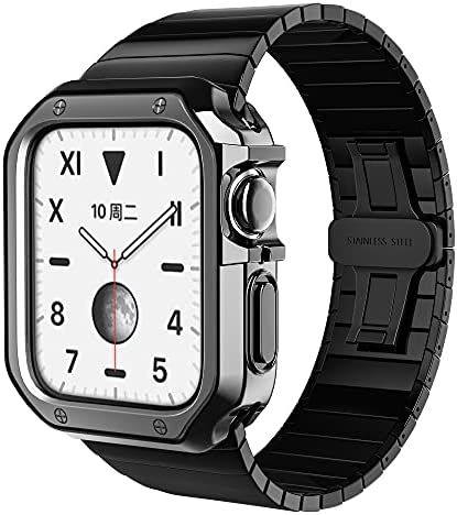Band Case Compatible for Apple Watch 44mm 42mm, Rugged Bumper Men TPU Case Military Metal Strap Protective Cover for iWatch series SE 6 5 4 3 2 1 Stainless Steel Butterfly Bracelet
