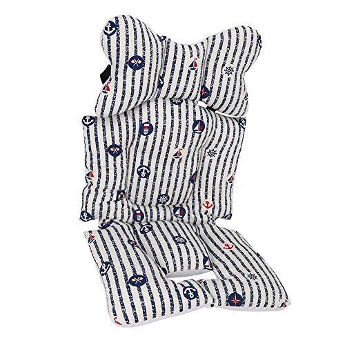 Valentine's Day PresentCojín de algodón grueso para cochecito, cojín para cochecito de bebé, cómodo de alta calidad para bebés de 0 a 15 meses, silla infantil para niños(Striped boat)