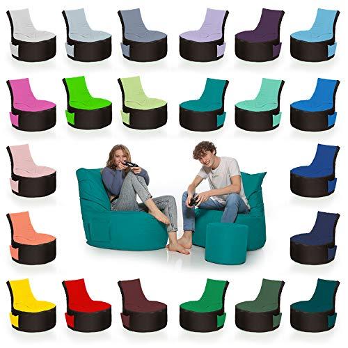 HomeIdeal - 2Farbiger Gamer Sitzsack Lounge für Erwachsene & Kinder - Gaming oder Entspannen - Indoor & Outdoor da er Wasserfest ist - mit EPS Perlen, Farbe:Schwarz-Türkis, Größe:Erwachsene