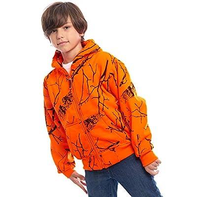 TrailCrest Kid's Safety Blaze Orange/Camo Double Fleece Full Zip Hoodie, Orange Camo, Small