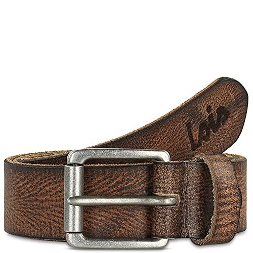 Lois - Cinturón de Piel Genuina Hombre. Hebilla metálica. Craquelado. Flexible y duradero. Ancho de 40 mm. Talla Ajustable 501004, Color Marron