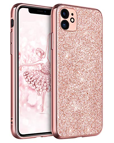 DUEDUE iPhone 11 Case Bling, Sparkly Glitter Slim Hybrid Hard PC Cover Shockproof Non-Slip,Glitter Full Body Protective Phone Cover Case for iPhone 11 6.1' 2019 for Women/Girls,Rose Gold