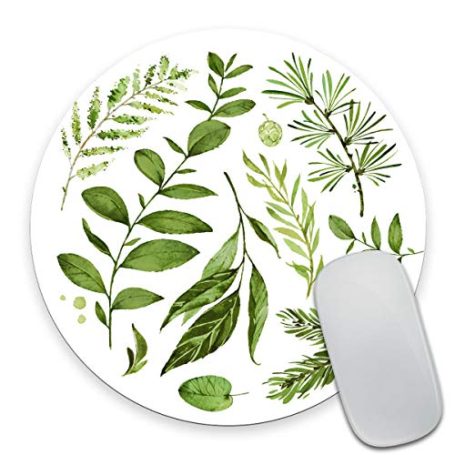 Smooffly Circular Mouse pad, Watercolor Leaves Mousepad, Wild Leaf Mouse pad, Round Mouse pad, Office Decor, Coworker Gift, Gift for Friend, Desk Accessories