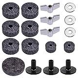 HEALLILY - Set di accessori per piatti 18 in 1 con rondelle in feltro, dadi ad alette, feltro Hi-Hat (grigio)
