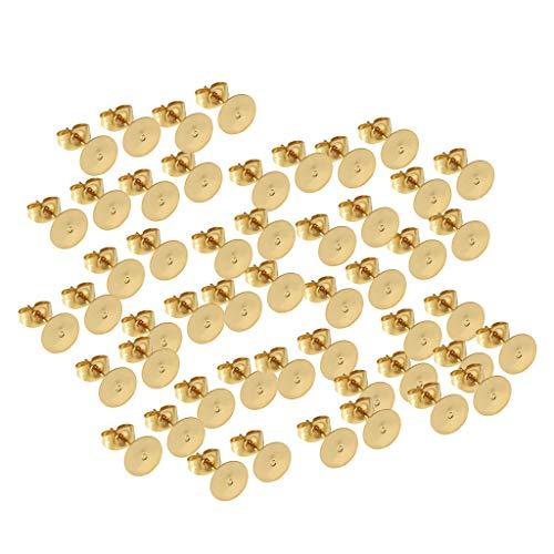 Colcolo 50 Piezas Flat Pad Hombres Pendientes de Botón Pendientes de Mujer - 5mm