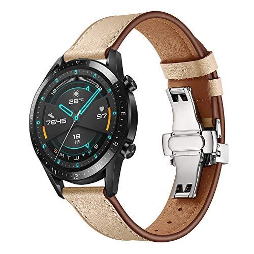 XZZTX Band Compatibel met Huawei Horloge GT/GT 2 Smartwatch, 22mm Echte Lederen Band Vervanging Polsbanden voor Galaxy Horloge Active/Galaxy Horloge 46mm