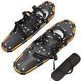 HERAHQ Raquetas De Nieve Ligeras para Mujeres, Hombres Y Jóvenes, Tabla De Esquí De Aluminio Dorado De 25'Zapatos De Nieve Ajustables para Terreno con Bolsa De Transporte para Niños Adultos