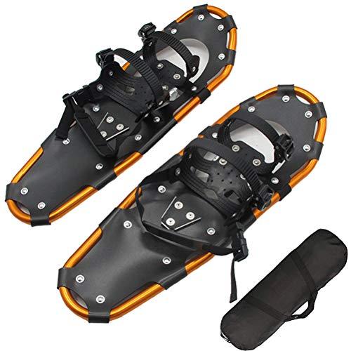 """HERAHQ Raquetas De Nieve Ligeras para Mujeres, Hombres Y Jóvenes, Tabla De Esquí De Aluminio Dorado De 25""""Zapatos De Nieve Ajustables para Terreno con Bolsa De Transporte para Niños Adultos ⭐"""