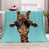 Manta con Estampado Jirafa con Gafas de Sol Mantas para Sofa Manta de Microfibra Franela Throw de Microfibra Suave cálida y sólida para Cama sofá y Viaje 180x200cm