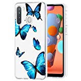 Zoeirc Galaxy A21 Case, Samsung A21 Phone Case Clear Case for Girls Women, Soft TPU Shockproof Protective Transparent Phone Case Cover for Samsung Galaxy A21 (Butterfly)