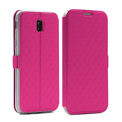 Urcover® Sunflower Wallet kompatibel mit Samsung Galaxy J7 2017 Europa Handy-hülle [ Sichtfenster & Stand-Funktion & Kartenfach ] Schutz-hülle Case Cover Smartphone Zubehör Etui Pink