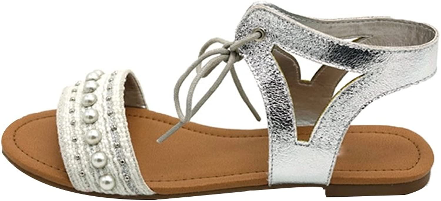 August Jim Women's Ankle Straps Lace Up Open Toe Sandals Pearl and Rivet Flat