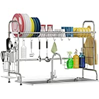 Warmfill Stainless Steel Over Sink Dish Rack with Utensils Holder