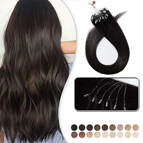 Extension Cheveux Naturel a Froid Rajout Micro Anneaux Cheveux Humain - Micro Ring Loop Remy Hair Extensions 100 Mèches 50g (#1B NOIR NATUREL, 22 Pouce/55CM)