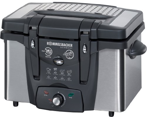 Rommelsbacher FRT 2145/E Double 3.1L 2100W Black,Stainless steel fryer - Fryers (3.1 L, Double, Black, Stainless steel, Stainless steel, 2100 W, 360 x 300 x 250 mm)