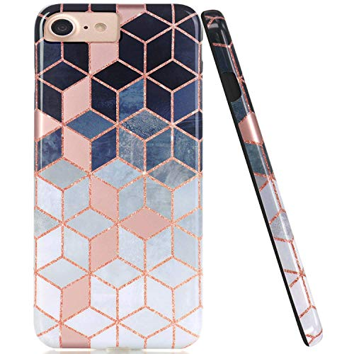 JAHOLAN Bright Rose Gold Cube Design Black Bumper Glossy TPU Soft Rubber Silicone Cover Phone Case Compatible with iPhone 7 iPhone 8 iPhone 6 6S