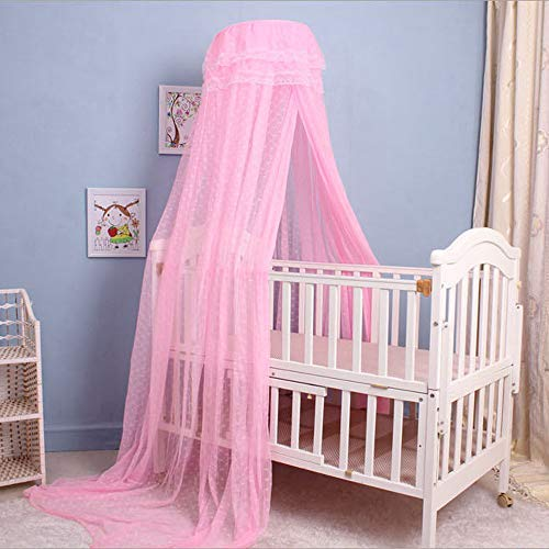 Cdycam Baby Infant Toddler Bed Dome Cots Mosquito Netting Hanging Bed Net Mosquito Bar Frame Palace-style Crib Bedding Set (Mosquito Net Without Stand, Pink)