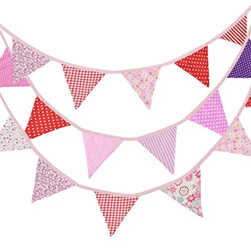 Ndier Banderín Decoraciones 10m 36 Banderas Vendimia de Doble Cara Tela Para Punto Floral La Ceremonia Fiesta Cumpleaños Bodas Al Aire Libre & Interior (Rosa)
