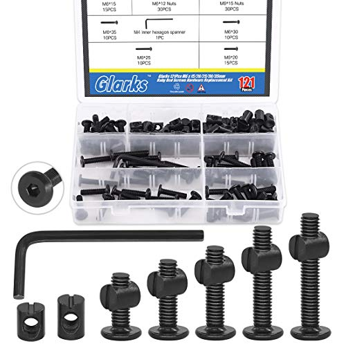 Glarks 120Pcs M6x15/20/25/30/35mm Black Hex Socket Cap Bolt and Barrel Nut Assortment Kit with a Allen Wrench for Crib Baby Bed Cots Furniture
