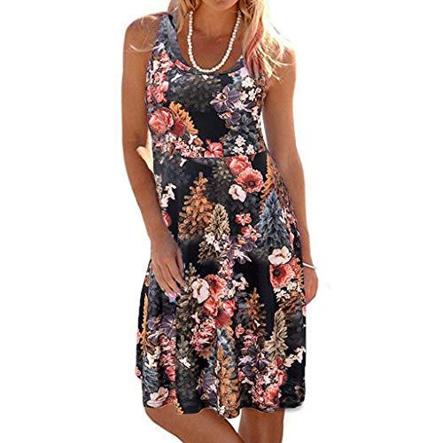 TIFIY Sommerkleid Damen,Elegante Ärmelloser O-Hals Maxi Tank Dress drucken Lässiges Blumenmuster Strand Partykleider(Schwarz,L