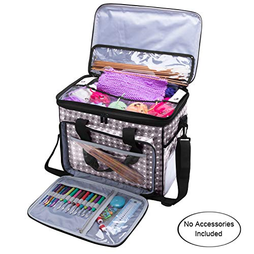 """Teamoy Knitting Bag, Yarn Tote Organizer with Cover and Inner Divider (Sewn to Bottom) for Crochet Hooks, Knitting Needles(up to 14""""), Project and Supplies, Grey Dots(No Accessories Included)"""