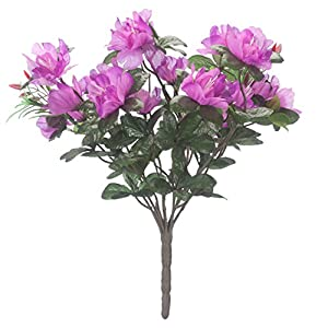"Silk Flower Arrangements OakRidge Silk Azalea Bush – Artificial Flowers Outdoor Décor – Purple, 17"" High"