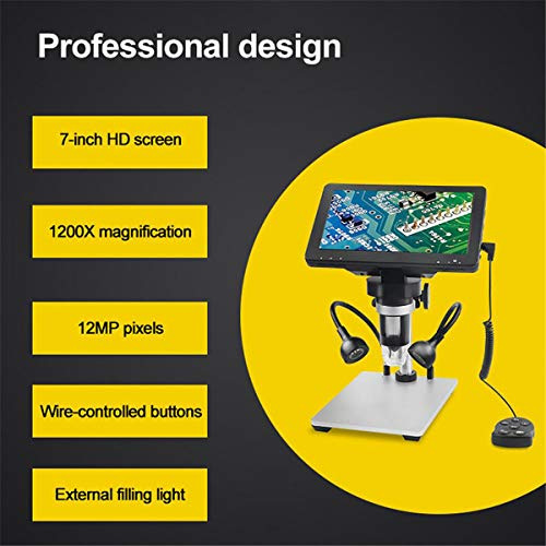 Vilihkc 7 inch LCD Digital Microscope 50-1200X USB Maginfication Handheld Electronic 12MP Coin Microscope Video Camera with 8 Adjustable LED Lights for Adults SDM PCB Soldering Kids Outside Use