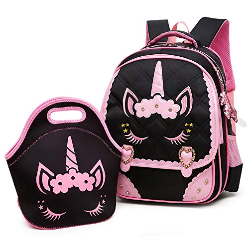Moonmo Cute Unicorn Face Diamond Bling Waterproof Pink School Backpack Set Girls Book Bag (Large, Black Set)