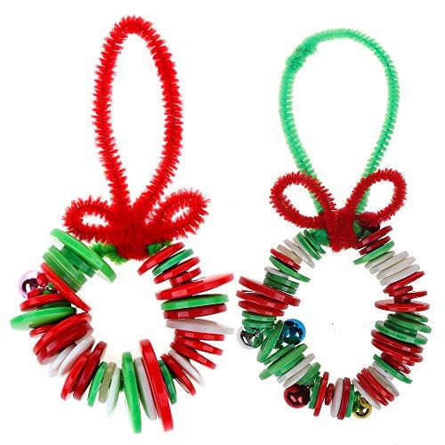 GTN Tech Christmas Wreath Button Craft Decorations - Xmas Kids Class Party Supplies Ornaments Decors 500PCS