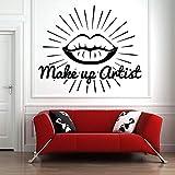 57X66 Cm Salón De Belleza Tatuajes De Pared Pintalabios Pintalabios Mercado Maquillaje Arte Etiqueta De La Pared Patrón Niña Sala De Estar Decoración Cosméticos