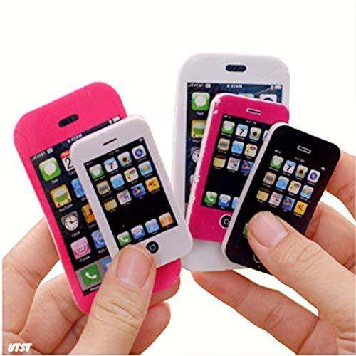 UTST 消しゴム 小学生 おもしろ けしごむ 文房具 スマホ iPhone 型 3色 紫 白 黒 20個 セット 景品 プレゼント に (S)