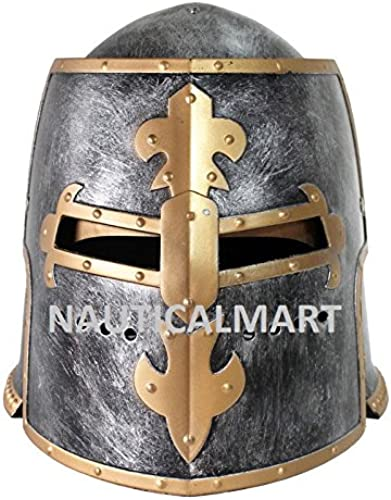 connotación de lujo discreta Nauticalmart Armor Medieval Larp Renaissance Knight Knight Knight Roman Armor Crusader - Máscara de casco medieval para adulto  primera vez respuesta