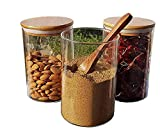 HAPPYLIFE 220/700/1000/1400 ml Glass jar Wooden lid for Food Storage Containers Set, Airtight Food Jars with Lids, Kitchen Canisters for Sugar, Candy, Cookie, Rice and Spice Jars (1, 700 ml)