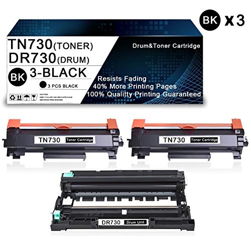 3 Pack(1-Pack DR730 Drum+2-Pack TN730 Toner) Compatible Drum & Toner Cartridge Replacement for Brother DCP-L2550DW MFC-L2710DW MFC-L2750DW MFC-L2750DWXL Printers Drum & Toner Cartridge.
