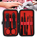 Profesional Set de Manicura Pedicura,8 Pieces Professional Pedicure Kit,Nail Clippers Set for Eyebrow Scissors Nail Clippers Acne Needle Nail File Manicure Tool Set, Manicure Tools with Travel Bag