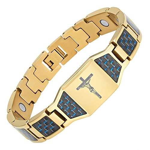 Willis Judd Christian Jesus Crucifix Cross Blue Carbon Fiber Titanium Magnetic Bracelet with Gift Box and Link Adjuster Tool