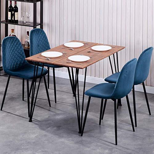 GOLDFAN Esstisch mit 4 Stühlen Rechteckiger Esstisch Retro Design Küchentisch und Samt Stuhl mit Metallbeine für Wohnzimmer Esszimmer Wohnzimmer Büro, Blau