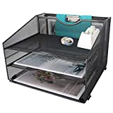 GOLDORCLE 4 Compartments Mesh Letter Tray Paper Holder Desk File Organizer with 3 Flat Trays and 1 Upright Compartments, Black