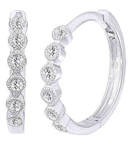 Taglio rotondo bianco diamante naturale, impilabile, orecchini a cerchio in oro bianco massiccio 14ct 585(0.1Cttw) e Oro bianco, colore: White, cod. UK-CME-11217-WG