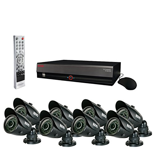 Revo Surveillance System R164B8G-3T -DVR 16 Channel 3TB Hard Drive + 8 700TVL Bullet Cameras with 100ft Night Vision - Best for Home & Businesses