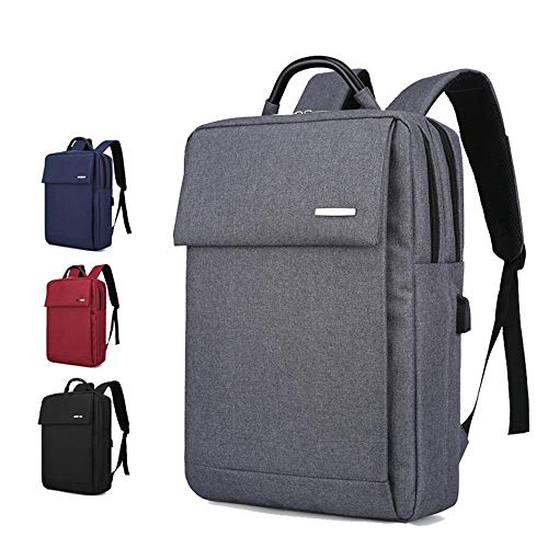 Laptop Backpack, Anti Theft Bag with USB Charging Port,Waterproof USB Rucksack Oxford Daypack for Men Women College Business Travel 15.6 in,Grey