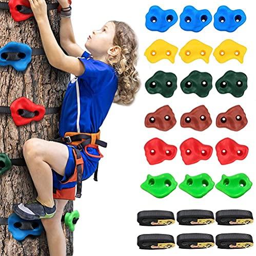 Presas de Escalada Interesante para Niños, 18 Asas de Escalada en Roca Bricolaje con 6 Correas de trinquete,Juego de Bloques de Escalada Infantil para Ejercicio en Interior al Aire Libre, Colorido