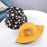Sombrero de Cubo Bordado con Margaritas, Sombreros de Playa de Flores de Encaje Transparente para Mujer, Gorra de Sol con Estampado de Margaritas a la Moda para Verano-C Yellow