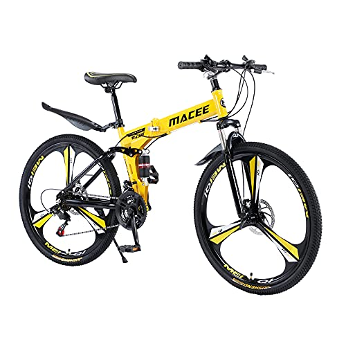 Sanamity 26 in Folding Mountain Bike Double Suspension 21 Speed Bicycle Double Disc Brake Foldable Full Suspension Anti-Slip MTB (Yellow)