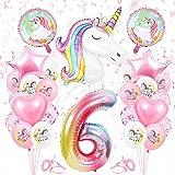 Globos Numeros Gigantes Unicornio 6, Decoración de Cumpleaños 6 en Rosado, Decoracion Unicornio, Globos de Cumpleãnos Unicornio 6,Globo Numero Unicornio 6, para Niñas