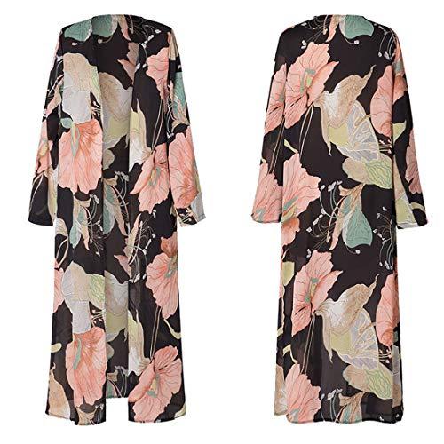 Vertvie Damen Chiffon Kimono Sommer Leicht Tuch Lange Cardigan Mit Blumen Muster Bikini Cover Up(S, Muster 1)
